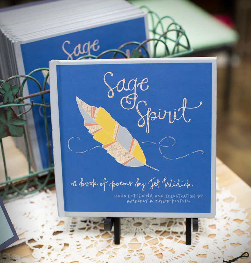 sage spirit illustrated hand-lettered poetry book by jet widick poet author writer illustration by kimberly taylor-pestell