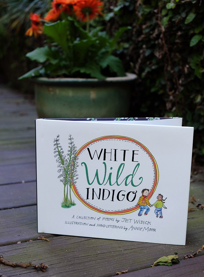 white wild indigo illustrated poetry childrens picture book annie moor jet widick