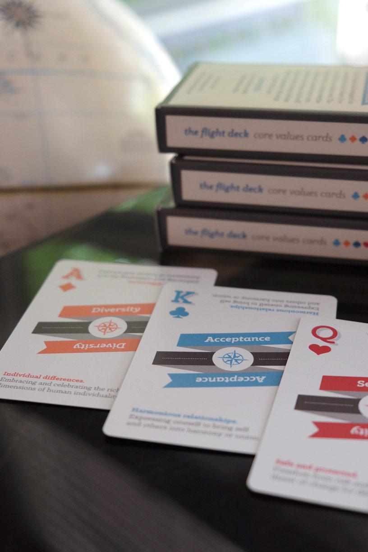 promotional flight deck core values cards for gluten free soul pilot